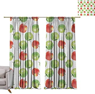 berrly Waterproof Window Curtain Apple,Watercolor Illustration of Granny Smiths and Celesta Brush Strokes Effect,Dark Coral Apple Green W72 x L84 Drapes for Living Room