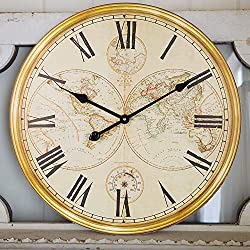 BEW Vintage Wall Clock, Large Rustic World Map Decorative Roman Wall Clock, Silent Non-Ticking Frameless Wooden Hanging Clock for Living Room, Dining Room, Kitchen, Apartment - 24 Inch