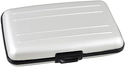 Kunststoff-Alu-6 Taschen Kredit-ID-Visitenkarte-Kasten-Kasten-Silber-Ton : B�robedarf & Schreibwaren