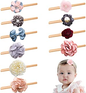 Baby Toddler Flower Headbands Bows, 10 Pack Super Stretchy Newborn Infant Girls Hair Bands by mligril