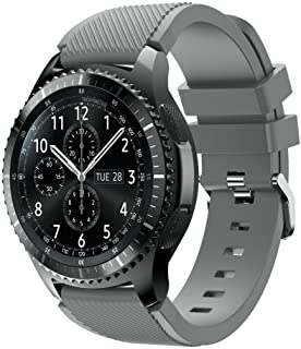 XIHAMA Band for Samsung Gear S3 Frontier/Classic, Universal 22mm Quick Release Wristband Silicone Replacement Strap (Grey)