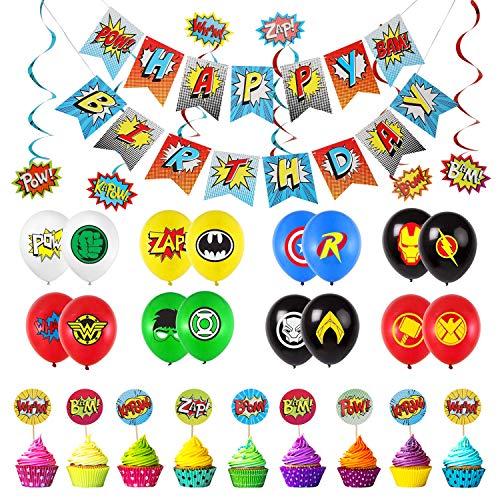 EPCHOO Geburtstagsdekoration, 56 PCS Superhelden Party Dekorationen Set Inklusive Alles Gute zum Geburtstag Banner, 32 Partyballons und Hängende Wirbel des Superhelden
