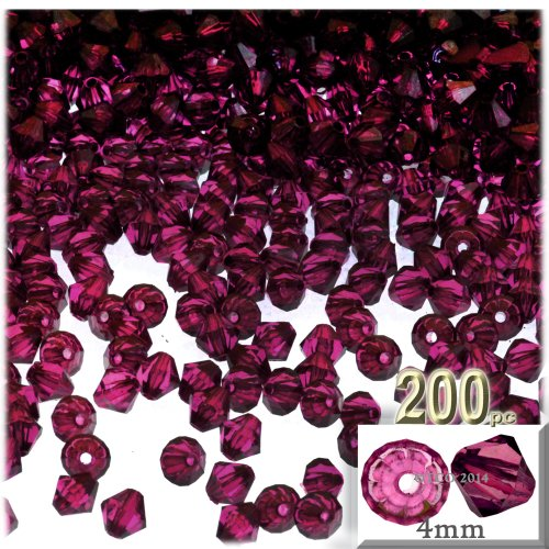The Crafts Outlet, 200-pc Acrylic Bicone Beads, Faceted, 4mm, Fuchsia