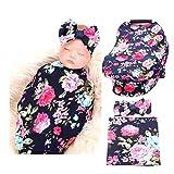 Baby Car Seat Cover Breastfeeding and Newborn Receiving Blanket Headband Set (Navy Blue Rose)