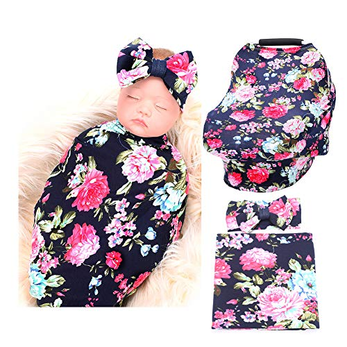 Baby Car Seat Cover Breastfeeding and Newborn Receiving Blanket Headband Set (Navy Blue Rose)