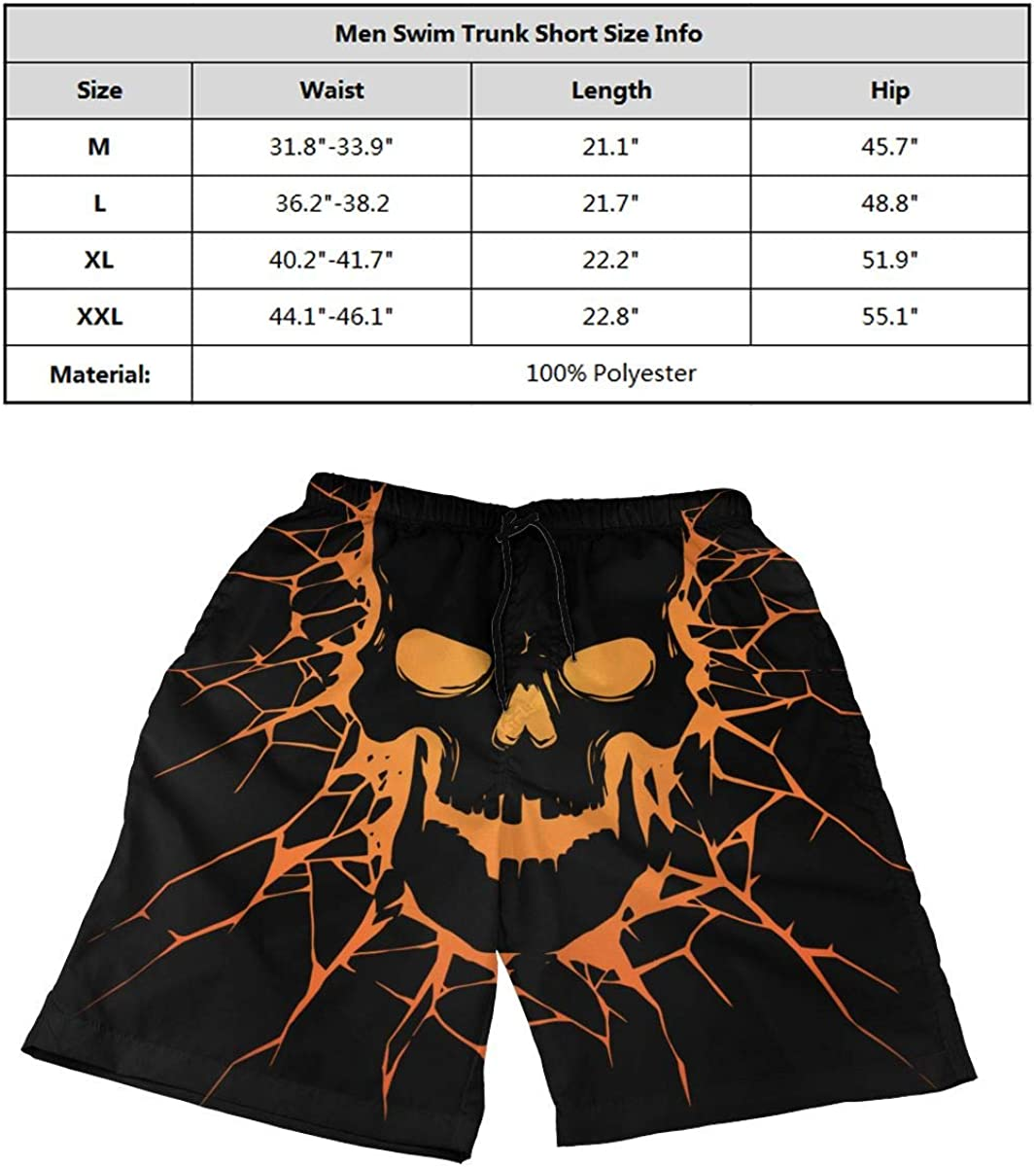 DASMUS Black Skull with Crack Hole Mens Quick Dry Beach Board Shorts Swim Trunks with Mesh Lining