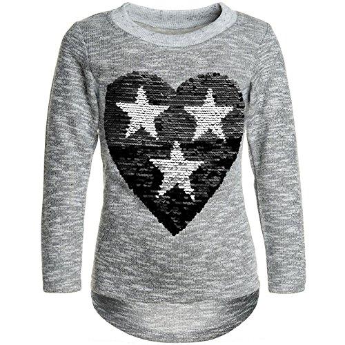 BEZLIT Mädchen Pullover Pulli Wende-Pailletten Sweatshirt 21517 Grau Größe 116
