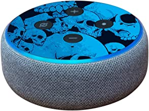 MightySkins Skin Compatible with Amazon Echo Dot (3rd Gen) - Blue Skulls   Protective, Durable, and Unique Vinyl Decal wrap Cover   Easy to Apply, Remove, and Change Styles   Made in The USA