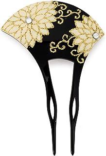 (ソウビエン) バチ型簪 かんざし 黒 ブラック 白 菊 花 金箔調 ラインストーン 結婚式 成人式 卒業式