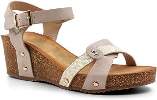 Angkorly - Chaussure Mode Sandale Mule Ouverte Confortable Femme lanières Boucle clouté Talon compensé 6 CM