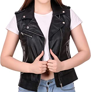 Leather Retail® Black Colour Cut Sleeve Girls Faux Leather Jacket