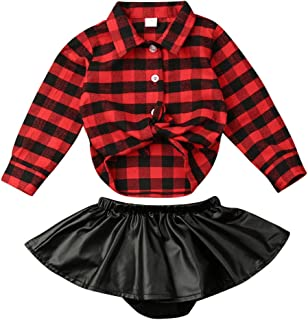 Newborn Kids Baby Girls Christmas Clothes Red Plaids T-Shirt Tops+Ruffle Leather Skirt Xmas Outfit Set