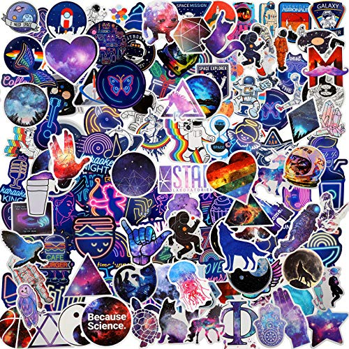 200 Pieces Starry Sky Stickers Animal Stickers Neon Light Stickers Graffiti Cartoon Stickers Laptop Assorted Waterproof Vinyl Decals for Water Bottle Skateboard Motorcycle Bicycle (Starry Sky)