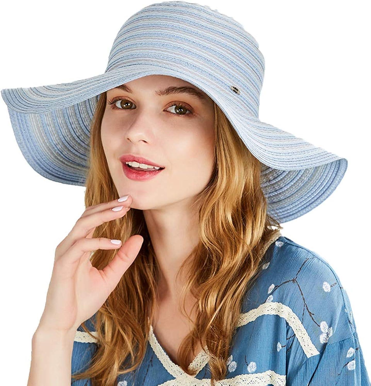 Hat Straw Hat Fresh Sen Female Summer Folding Big Hat Europe and America Small Fresh Basin Cap Beach Sun Ha (color   Light bluee, Size   57cm)