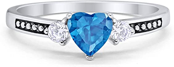 Blue Apple Co. Elegant Heart Promise Ring Round Cubic Zirconia Black Accent 925 Sterling Silver Choose Color
