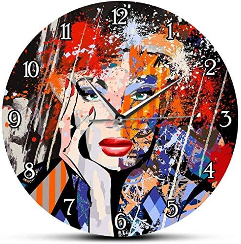 Reloj De Pared Arte Abstracto Moda Dama Retrato Moderno Reloj De Pared Pintura Mujer Cara Reloj De Pared Silencioso Retrato De Interior Decoración del Hogar 30X30 Cm