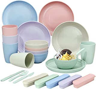 Camping Dinner Sets of 5 (40Pcs), Picnic Dinnerware Sets, Party Dinner Plate Mug Cutlery Set, Unbreakable and Lightweight ...