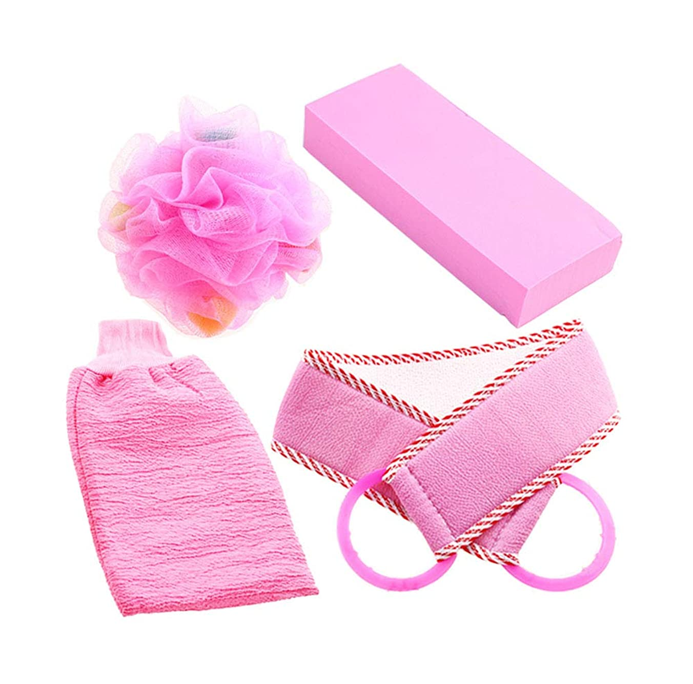 尊敬めまい馬鹿バースストリップ&バスタブフラワー、4本のピンクのエクスフォリエーションシャワースポンジ