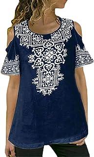MK988 Womens Plus Size Short-Sleeve Off Shoulder Floral Blouse T-Shirt Top