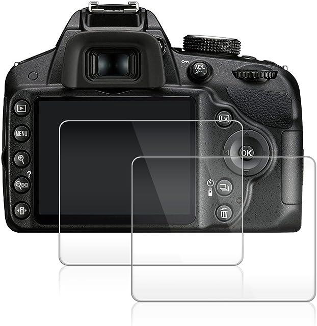 AFUNTA Protector de Pantalla para Nikon D3100 D3200 D3300 D3400 2 Paquete la Cámara del Protector de Vidrio Templado Óptica