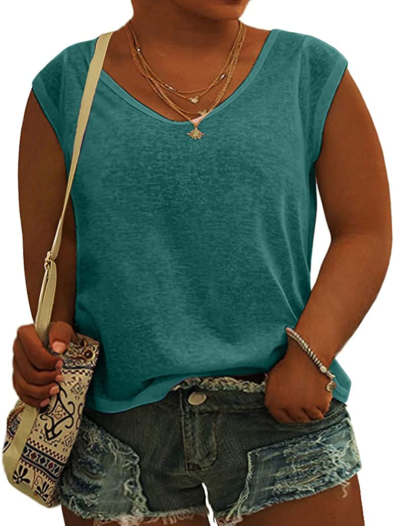 Women's Plus Size Cap Sleeve Tshirts Summer Basic Crewneck Tank Tee Tops