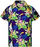 Funky Camisa Hawaiana, Manga Corta, Parrot Cockatoo, Púrpura, XS