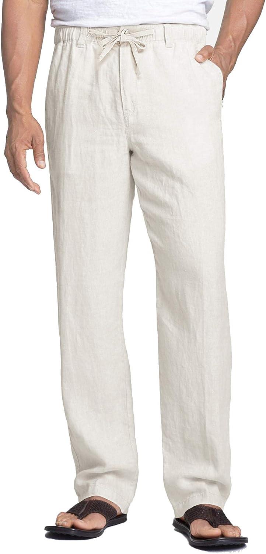 COOFANDY Men's Save money Casual Linen Pants Elastic Drawstring Cotto Waist San Antonio Mall