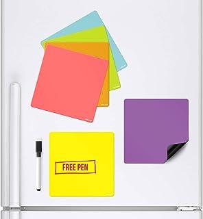 CKB LTD - Lote de 6 pizarras blancas magnéticas de colores que se adhieren a tu nevera con un rotulador y un rotulador colorido para la cocina, con un gran menú diario