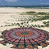 Raajsee Blue Orange Mandala Round Beach Tapestry Hippie/Boho Mandala Beach Blanket Roundie/Indian Cotton Throw Bohemian Round Table Cloth/ Home Decor/Yoga Mat Meditation Picnic Rugs 69 inch Circle