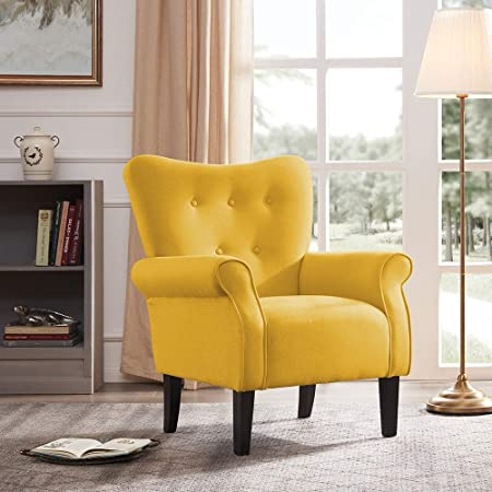Belleze Modern Accent Chair Roll Arm Linen Living Room Bedroom Wood Leg Citrine Yellow Furniture Decor