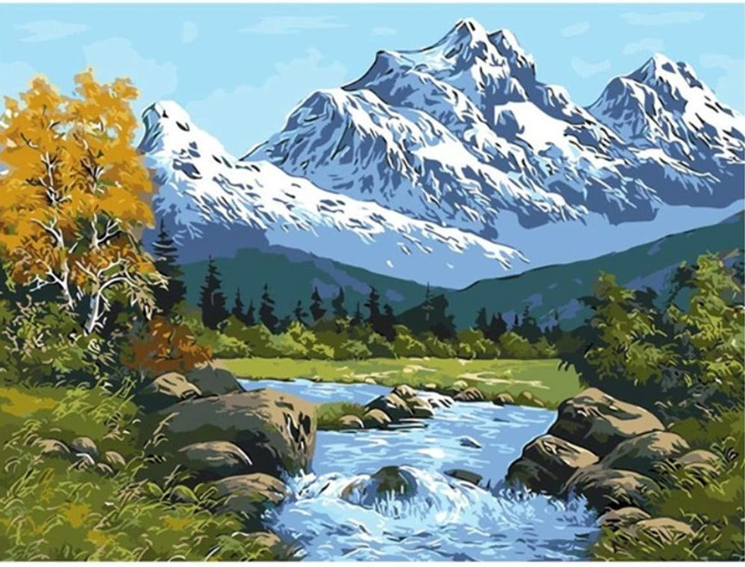 Lake and Snow Mountain Drawings by Numbers Digital Winter Oil Paintings Living Room Home Decor Wall Art Pictures by Numbers 50x60CM