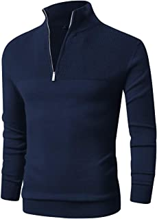 Freshhoodies Men Zip Sweater Slim Fit Polo Sweater Casual Long Sleeve Pullover Sweater