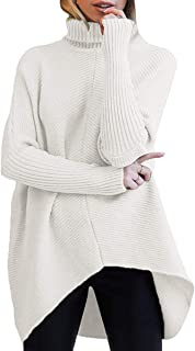 Womens Turtleneck Long Batwing Sleeve Asymmetric Hem Casual Pullover Sweater Knit Tops