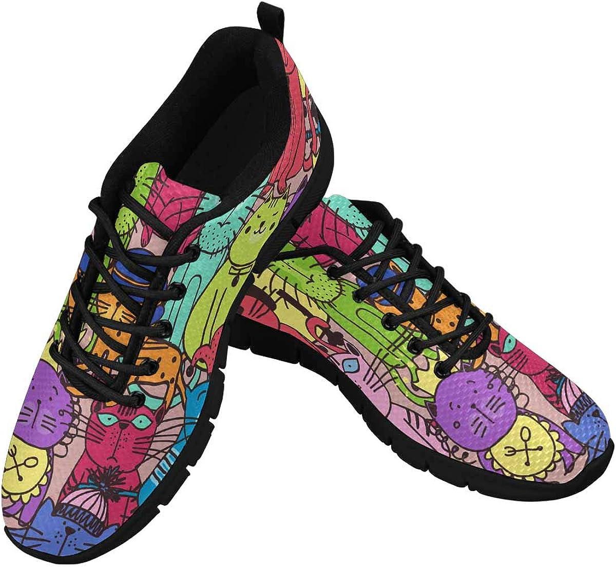 INTERESTPRINT Colorful Animals Women's Tennis Running Shoes Lightweight Sneakers