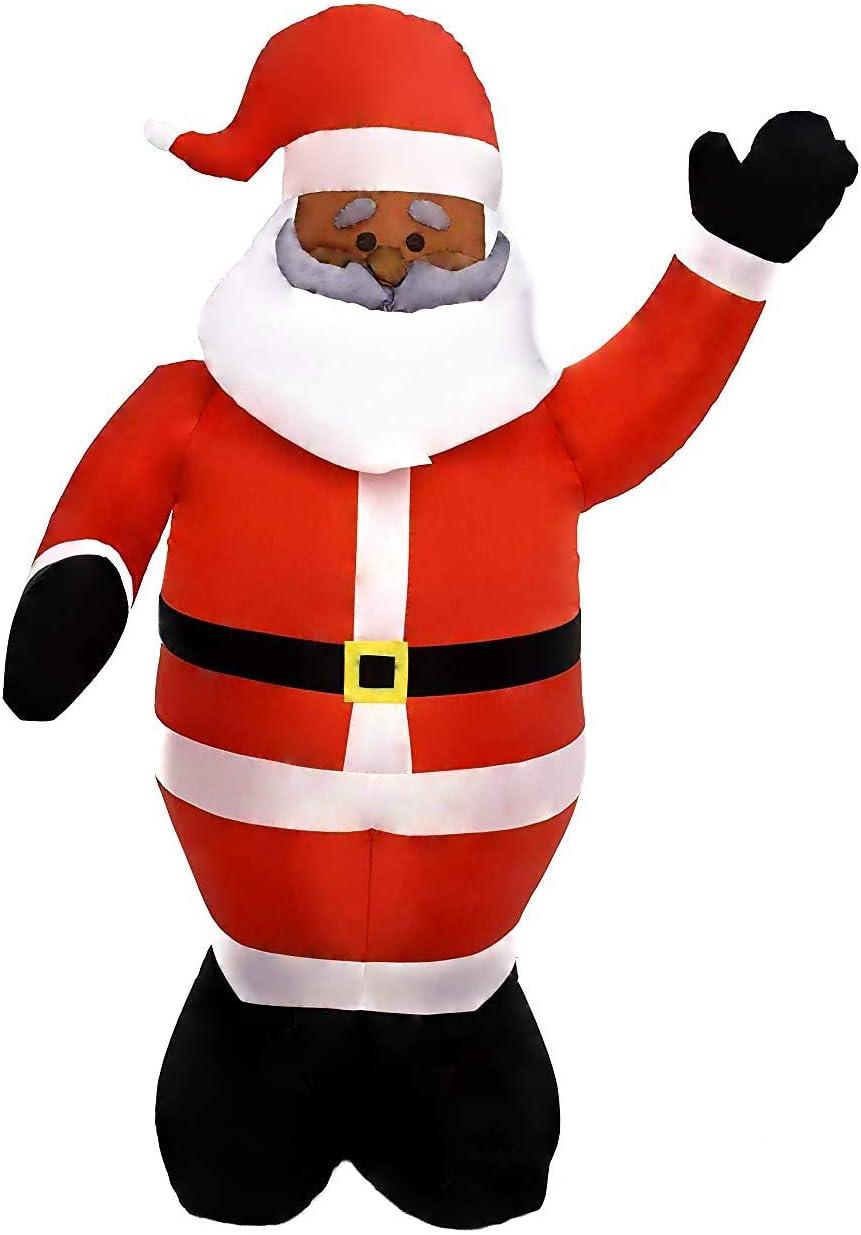6 Foot Long Christmas Inflatable Santa Claus Black Santa Inflatable Yard Decoration Christmas Inflatables
