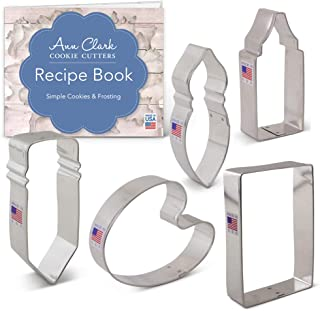 Ann Clark Cookie Cutters 5-Piece Art and Artist's Cookie Cutter Set with Recipe Booklet, Pencil, Crayon or Glue, Paint Brush, Paint Palette, Paper