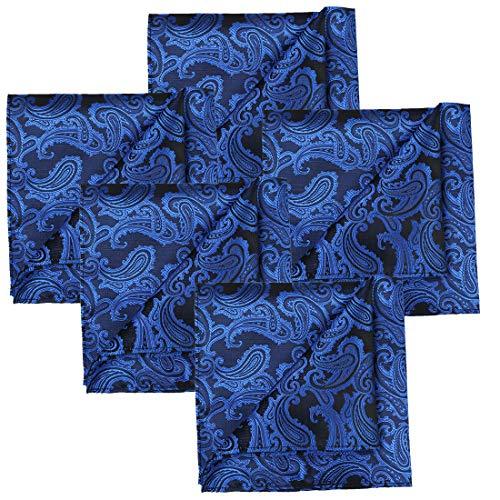 KissTies 5 PCS Royal Blue Pocket Square Paisley Wedding Hankies Gift Set