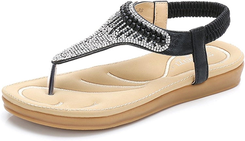 GIY Women's Bohemian Sparkle Rhinestone Flip Flops Summer Beach Thong Comfort Elastic Flat Sandals Black