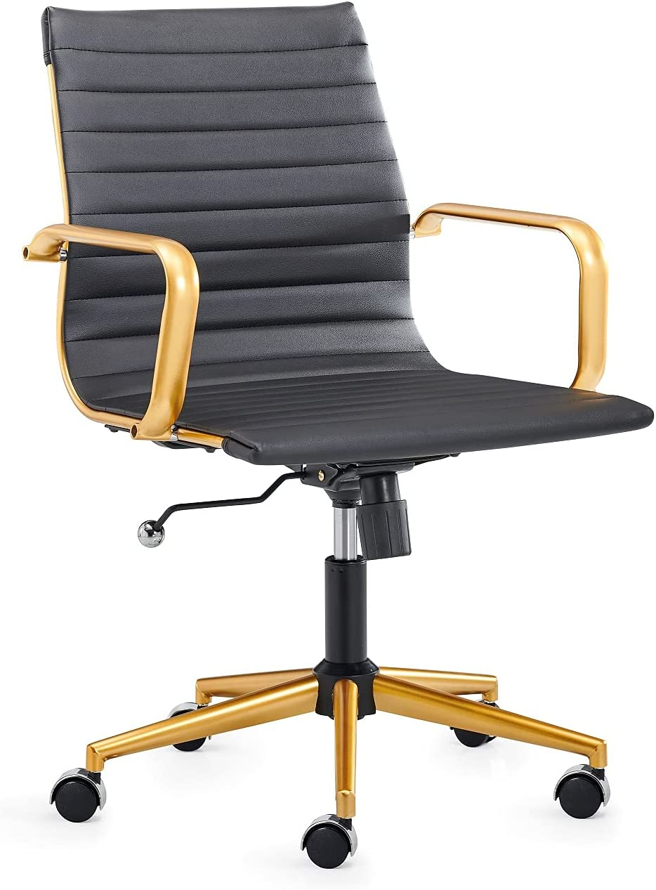 CAROCC Black and Gold Office Chair Gold Office Chair with Lumbar Support Black and Gold Desk Chair mid Back White Desk Chairs with Wheels Swivel Gold Desk Chair 320lbs 3011 Gold Black
