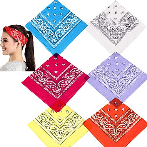 Paisley Bandana Women Men Novelty Headband Bandanas Cotton Cowboy Wristband Headscarf Mask Bandanas for Holiday Party Christmas (Multicolor, 6 Pack)