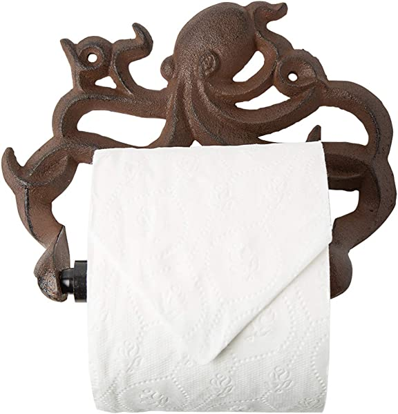 Decorative Cast Iron Octopus Toilet Paper Roll Holder Wall Mounted Octopus D Cor For Bathroom Kraken Nautical Bathroom Accessories Easy To Install With Included Screws And Anchors Rust Brown