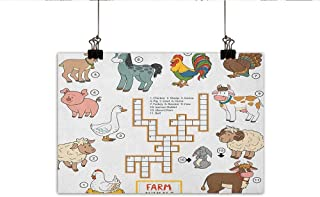Littletonhome Kids Game Wall Art Decor Poster Painting Crossword Educational Puzzle for Children with Different Farm Animals and Numbers Decorations Home Decor 20