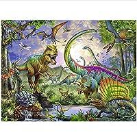 YGACJ 野生の恐竜のテーマダイヤモンド絵画、フル5D刺繡、スクエアビーズ、クロスステッチ、ラインストーン、DIY、室内装飾、ギフト50x40cmフレームなし