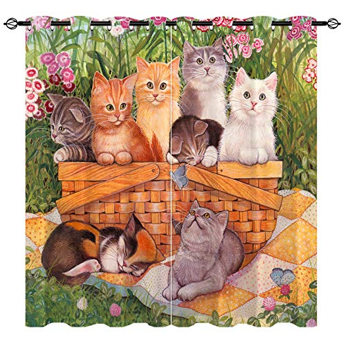 """ANHOPE Cat Curtains - Thermal Insulated Grommet Blackout Curtains with Oil Painting Cat Playing & Sleeping Design Print Pattern, Room Darkening Curtains for Bedroom Living Room, 2 Panels, 29.5"""" x 63"""""""