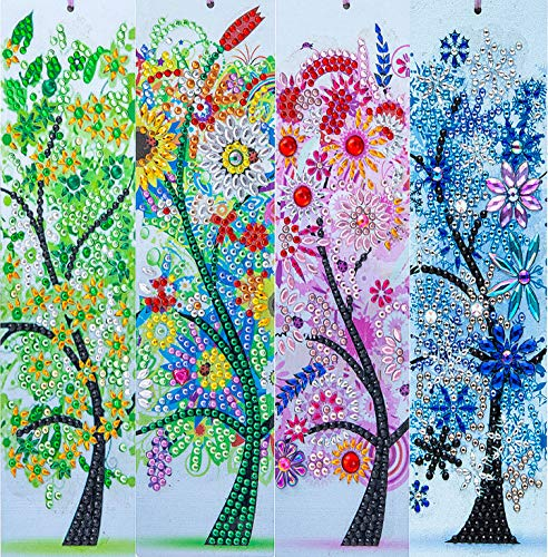 4 Pack 5D Diamond Painting Bookmarks Beautiful Four Seasons Trees Leather Tassel Bookmark with Diamond Painting Kits for Adults and Kids,8.3x2.4 Inch