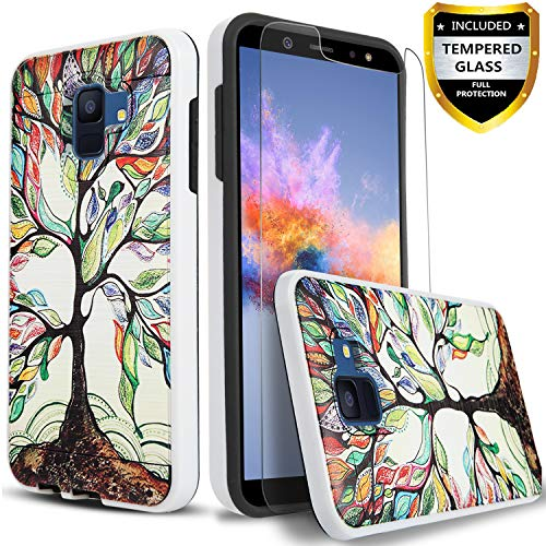 Galaxy A6 Case, with [Tempered Glass Screen Protector] Circlemalls 2-Piece Style Durable Hybrid Drop Protection Armor Rugged Protective Phone Cover with Stylus For Samsung Galaxy A6-Lucky Tree