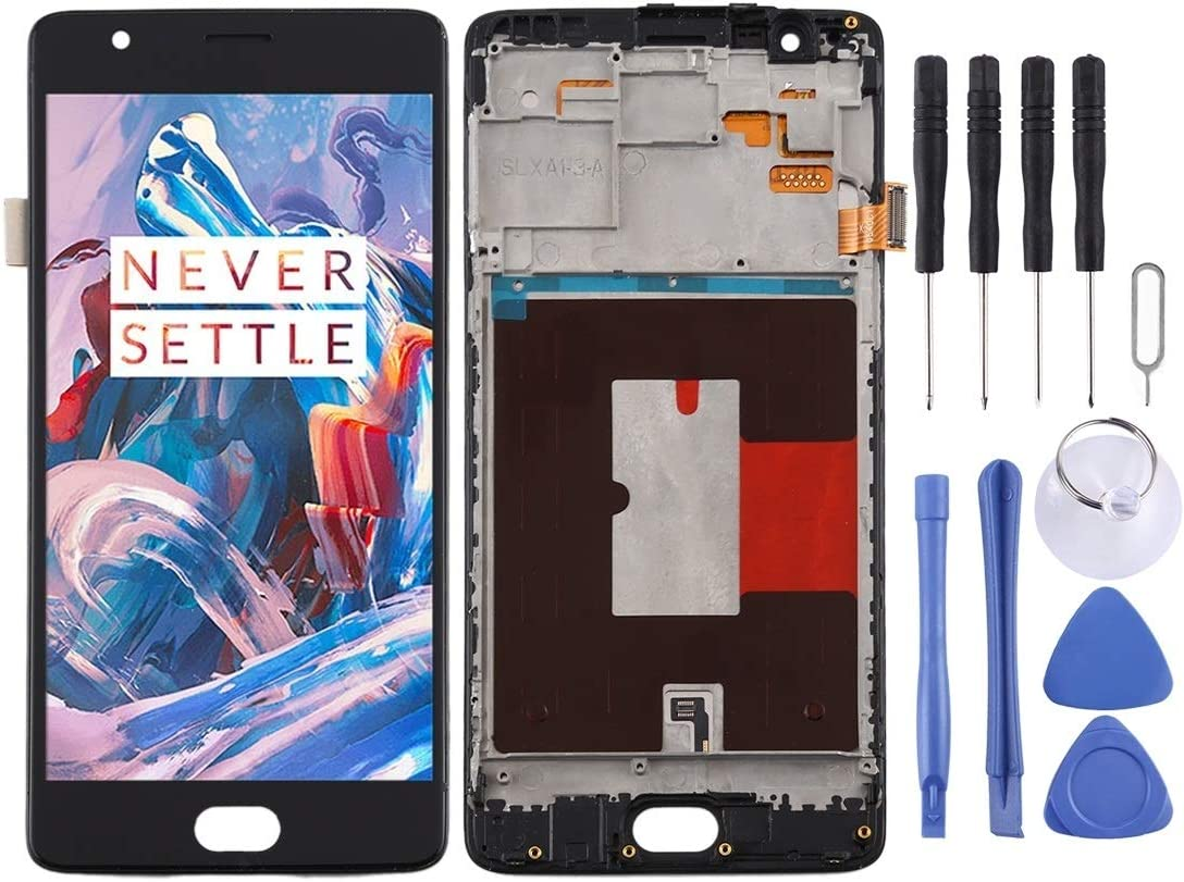 Color : White DONG TFT Material LCD Screen and Digitizer Full Assembly with Frame for OnePlus 3 3T A3000 A3010 Durable