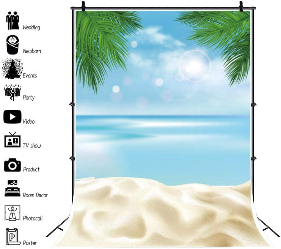 Summer Landscape Backdrop Palms Tree Beach Sand Party Polka Dot Baby Scenic Party Supplies Backdrop Ceremony Banner Birthday Party Decoration Booth Prop Custom Photograph Backdrop Show Background
