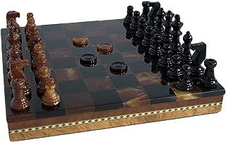 Alabaster Inlaid Chest Chess Set in Black / Brown