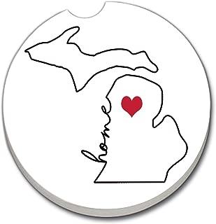 CounterArt Absorbent Stoneware Car Coaster, Love Michigan-Home